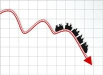 Roller coaster stock market - Business crisis diagram