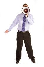 man with loud speaker