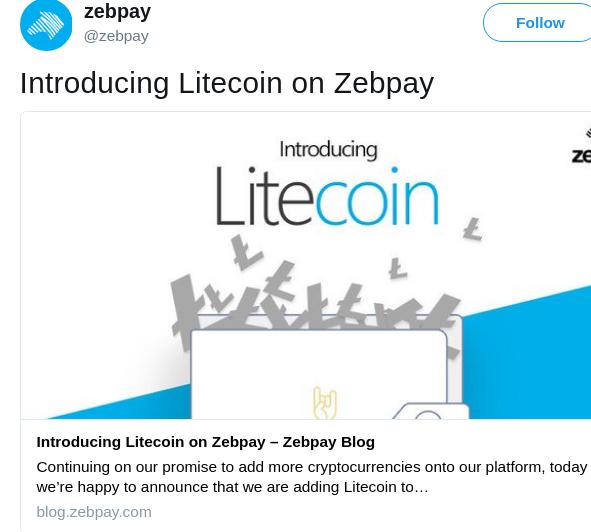 litecoin on zebpay